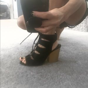 Qupid Shoes - Qupid Suede Lace Up Block Heels